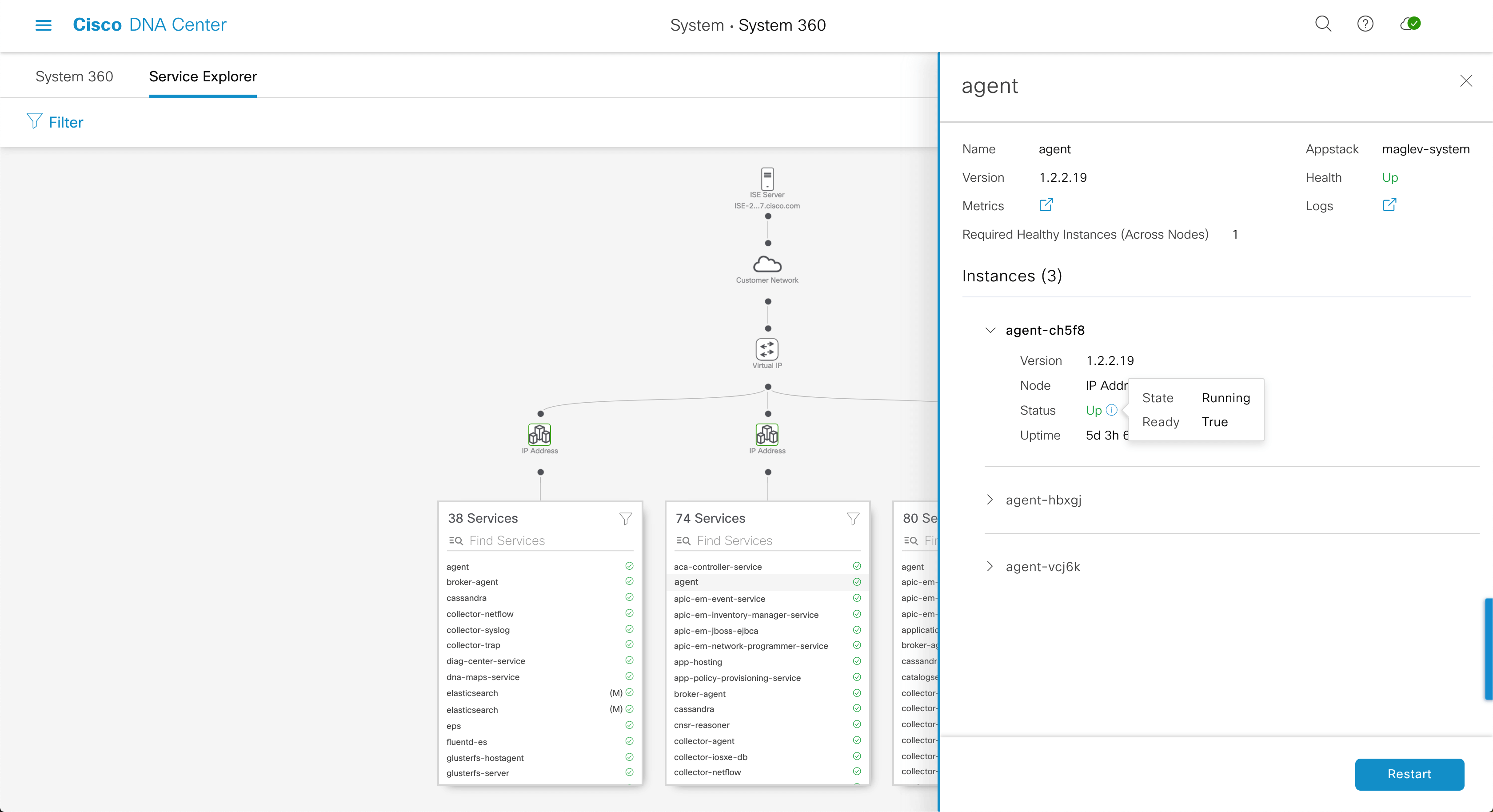 Full-page screenshot of Service Explorer tree with Sidebar open