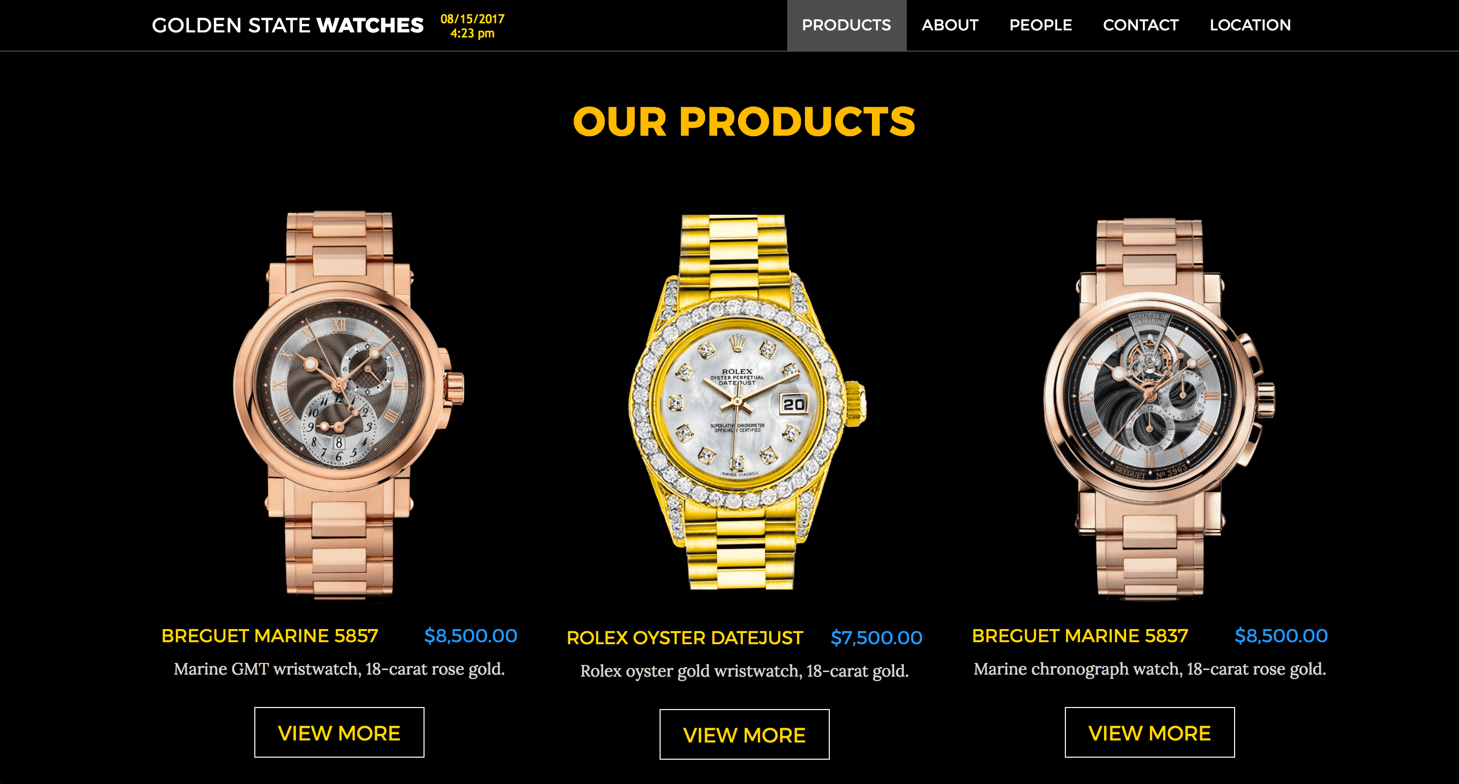 Screenshot of Golden State Watches Page